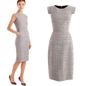 J. Crew Dresses - J Crew Glen Plaid Dress Cap Sleeve with Pockets